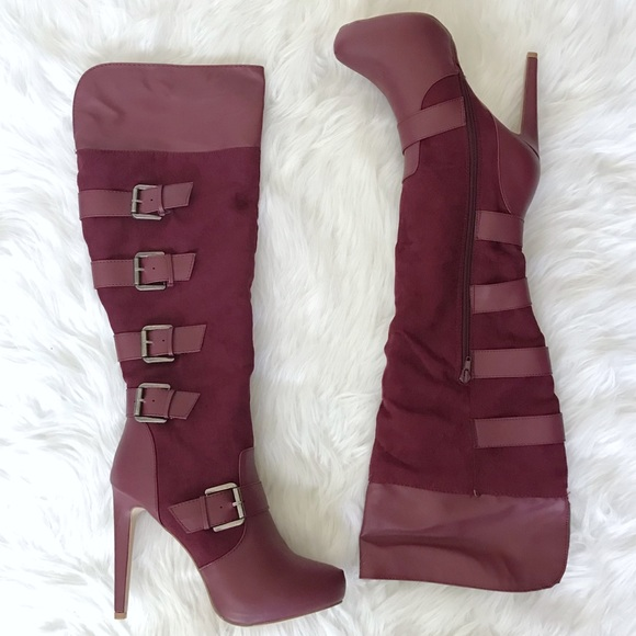 cheap price outlet sale cheap prices Luxe Just fab burgundy knee high boots size 10